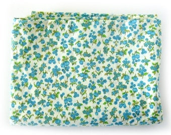 1950s 1960s Vintage Fabric - Small Print Floral Cotton Print - Blue Flowers 100% Cotton Yardage