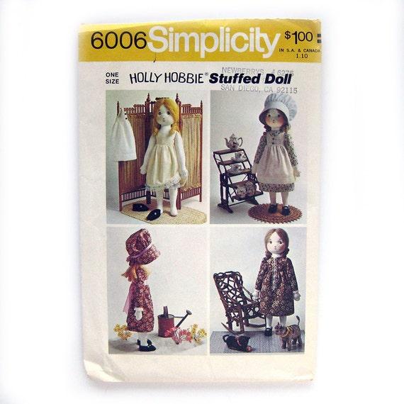 Holly Hobbie Stuffed Doll Pattern - Simplicity 6006 - UNCUT FF