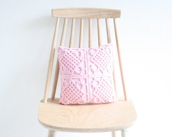 Pink crochet pillowcase 30 x 30 cm