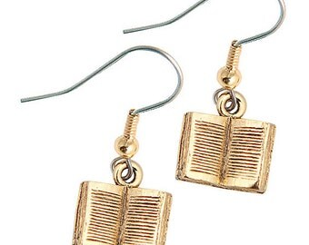Book Charm Earrings Great Teacher Gift gold pewter charms open books lead-free made in USA
