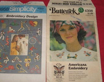 Vintage Embroidery Patterns Simplicity 6958 Butterick 4308 Americana Bicentennial Sports Patterns Free Shipping