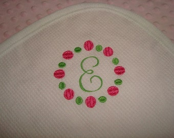 ON SALE Monogram Thermal Waffle Weave Cotton Blanket -  Approximately 32 in X 40 in Ready To Ship