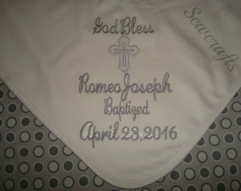 Romeo Personalized Baptism blanket  Personalized christening Blanket- Choice of name and Date