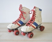 vintage Roller Derby red, white and blue 1980s roller skates