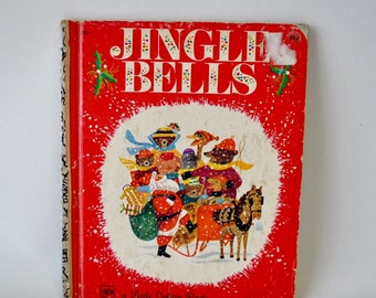 adorable vintage a little golden book / Jingle Bells / gift for child / stocking stuffer / Christmas book