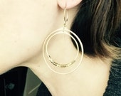 Double Hoop and Cube Earrings