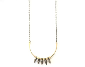 Brass Half Circle and Spikes Necklace