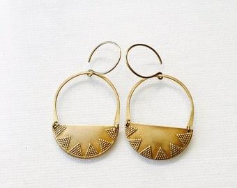 Golden Half Circle Aztec Earrings