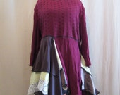 Lagenlook Boho Tunic Maroon Lime Brown with Ivory Lace Layered Flowing One Size Plus to 3X