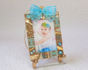 Picture Frame Ornament or Magnet - Microbead Collage in blue and gold, school photo frame, Mother's Day gift