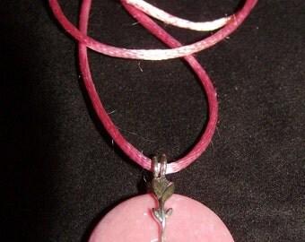 Pink Rhodonite Gemstone & Sterling Silver Bail Pendant