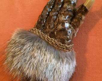 Pinkies Out Alligator Paw and Coyote Fur Taxidermy Brooch