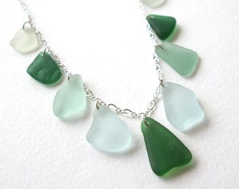 Sea Foam and Forest Green Sea Glass Multi Necklace on Sterling Silver