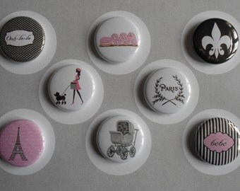 French Baby Shower Flair Buttons-YOU PICK STYLE