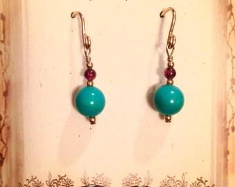 Turquoise & Garnet Earrings