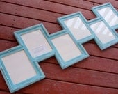 MULTI 6 Opening Staggered 8x10 distressed pine collage picture frame with the 8x10's in the portrait position...aqua..HANDMADE