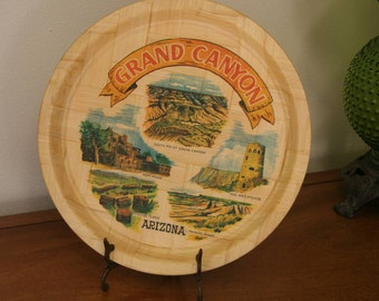GRAND CANYON: Vintage Bamboo Wooden Serving Tray, Kitschy 1970s Tourist Travel Souvenir // Wall Hanging, U.S.A. Southwest Vacation Landmarks