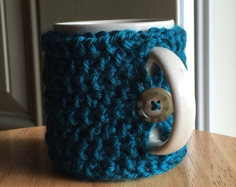 Crocheted mug cozy cup cozy in dark teal