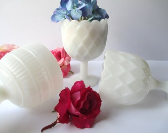 Vintage Milk Glass Footed Vase/Planter Trio - Wedding Decor