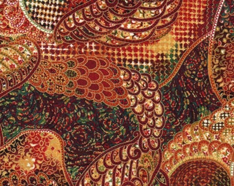Crimson Red Oriental Traditions Paisley Print 100% Cotton Quilting Fabric