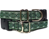 OLD ENGLISH, dog collar, dog tag collar, buckle collar, house collar, metallic collar, green collar, metallic dog collar, green dog collar