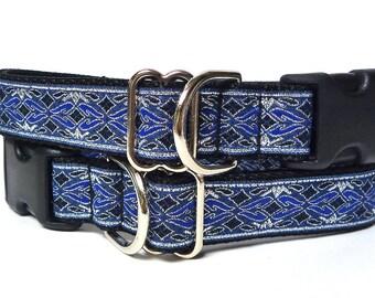 Blue dog collar, OLD ENGLISH, dog collar, tag collar, buckle collar, house collar, metallic collar, metallic dog collar, renaissance collar
