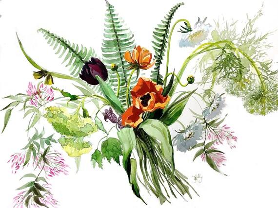 Watercolor painting -Tulips, Jasmine + Ferns - original watercolor flower painting