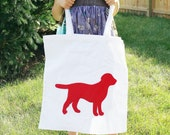 Red Dog Silhouette Market Bag