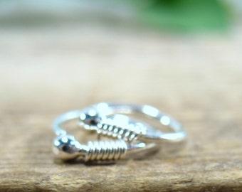 Little Hoop Earrings Silver Ball Silver Wrap Ball - Hoop Earrings, Piercing Earrings, Helix Piercing, Rook Piercing, Daith Piercing, Tragus