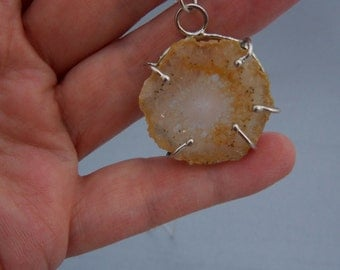 Crystal Quartz Stalactite Necklace, Sterling Silver Pendant, Statement necklace, Flower stalactite, gift for her, handmade jewelry