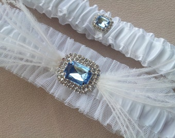 Something Blue Bridal Garter Set Ostrich Feather White Blue Rhinestone Accents Bridal Garter Wedding Garter
