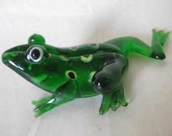 Frog Green Glass Figurine Vintage Miniature