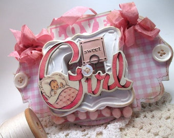 shabby baby sign-SWEET BABY GIRL-infant decor