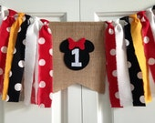 Minnie Mouse inspired High Chair banner ~Burlap Banner ~Black Red White Yellow ~1st birthday ~photography prop cake smash birthday banner