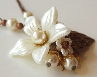 Lily pendant necklace  - secret garden series pearls and antique vintage flower parts