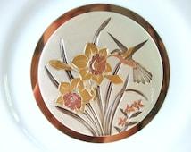 Vintage Chokin Hummingbird Plate Cameron Japan Gold Rimmed
