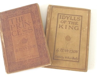 Antique Tennyson School Books - Idylls of the King and The Princess