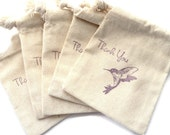 5 Muslin Bags, Purple Hummingbird Thank You, gift Bags, Packaging, 3x4 Inches, Hand Stamped, Party Favor Bags