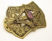 Antique Sash Brooch Ornate Amethyst Vintage Jewelry P6826