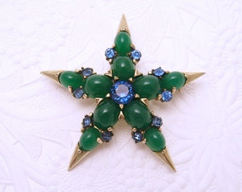 Vintage Star Brooch Green  Boucher Jewelry  P5593