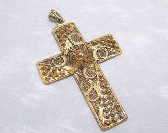Sterling Vintage Cross Pendant Vermeil Cannetille Filigree Van Lou Jewelry P5984
