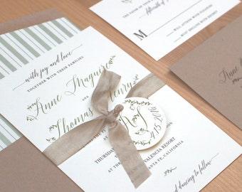 wedding invitation, rustic wedding invitation, wedding invitation set, sage and grey invitation SAMPLE