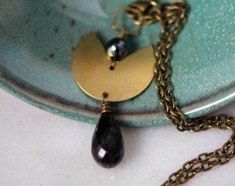 50% Off Boho Brass Pendant with Jasper, Hematite, and Pyrite Drop, Gold Lariat