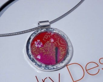 Sterling Silver and Japanese fabric Pendant