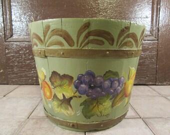 Vintage tole painted wood slat bucket- hand painted, beautiful, folk art, great home decor, solid