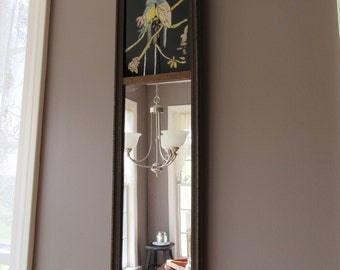 SWEET old courting mirror- very good condition, ornate wood frame, love birds top behind glass