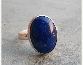 ON SALE Lapis Lazuli Ring - Lapis ring - Bezel set ring - Oval ring - Natural gemstone ring - Sterling silver ring - Gift for her