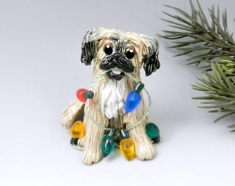Tibetan Spaniel Sable Christmas Ornament Figurine Lights Porcelain