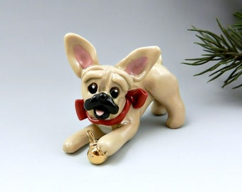 French Bulldog Christmas Ornament Figurine Gold Ball Porcelain Clay