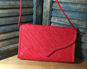 Red Italian Summer Straw Clutch